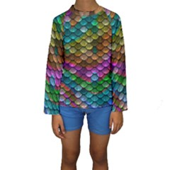 Fish Scales Pattern Background In Rainbow Colors Wallpaper Kids  Long Sleeve Swimwear by Nexatart