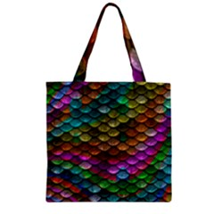 Fish Scales Pattern Background In Rainbow Colors Wallpaper Zipper Grocery Tote Bag by Nexatart