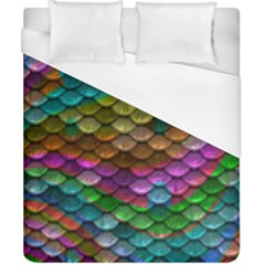 Fish Scales Pattern Background In Rainbow Colors Wallpaper Duvet Cover (california King Size) by Nexatart