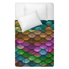 Fish Scales Pattern Background In Rainbow Colors Wallpaper Duvet Cover Double Side (single Size) by Nexatart