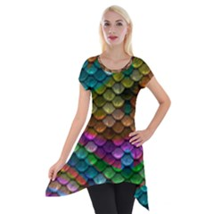 Fish Scales Pattern Background In Rainbow Colors Wallpaper Short Sleeve Side Drop Tunic by Nexatart
