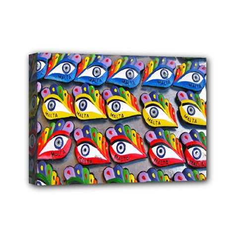 The Eye Of Osiris As Seen On Mediterranean Fishing Boats For Good Luck Mini Canvas 7  X 5