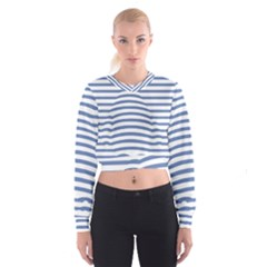 Animals Illusion Penguin Line Blue White Cropped Sweatshirt by Mariart