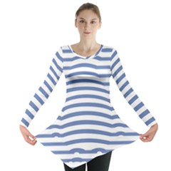 Animals Illusion Penguin Line Blue White Long Sleeve Tunic  by Mariart