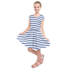 Animals Illusion Penguin Line Blue White Kids  Short Sleeve Dress by Mariart