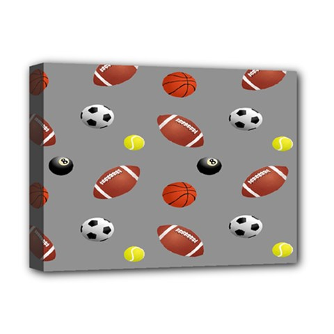 Balltiled Grey Ball Tennis Football Basketball Billiards Deluxe Canvas 16  X 12   by Mariart