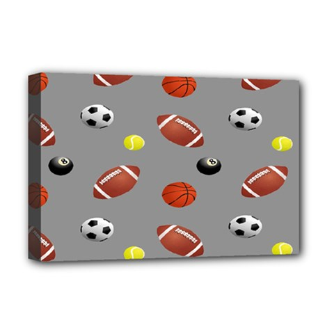 Balltiled Grey Ball Tennis Football Basketball Billiards Deluxe Canvas 18  X 12   by Mariart