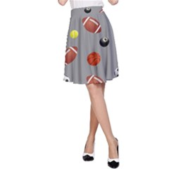 Balltiled Grey Ball Tennis Football Basketball Billiards A-line Skirt by Mariart