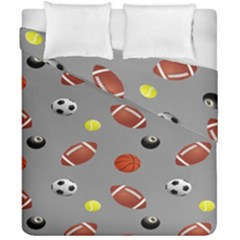 Balltiled Grey Ball Tennis Football Basketball Billiards Duvet Cover Double Side (california King Size) by Mariart