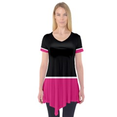 Black Pink Line White Short Sleeve Tunic  by Mariart