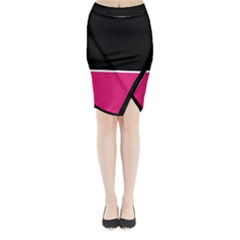 Black Pink Line White Midi Wrap Pencil Skirt by Mariart