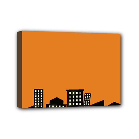 City Building Orange Mini Canvas 7  X 5  by Mariart