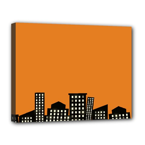 City Building Orange Canvas 14  X 11  by Mariart