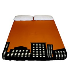 City Building Orange Fitted Sheet (queen Size) by Mariart