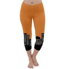 City Building Orange Capri Winter Leggings  by Mariart
