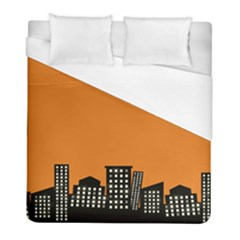 City Building Orange Duvet Cover (full/ Double Size) by Mariart