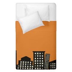 City Building Orange Duvet Cover Double Side (single Size) by Mariart