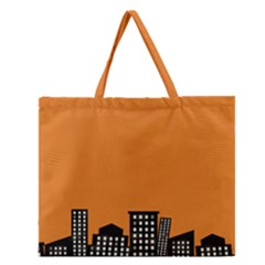 City Building Orange Zipper Large Tote Bag by Mariart
