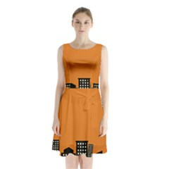 City Building Orange Sleeveless Chiffon Waist Tie Dress by Mariart