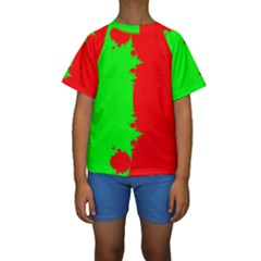 Critical Points Line Circle Red Green Kids  Short Sleeve Swimwear by Mariart