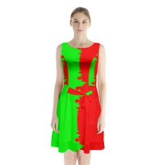 Critical Points Line Circle Red Green Sleeveless Chiffon Waist Tie Dress by Mariart