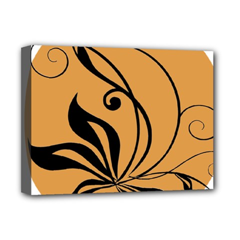 Black Brown Floral Symbol Deluxe Canvas 16  X 12   by Mariart