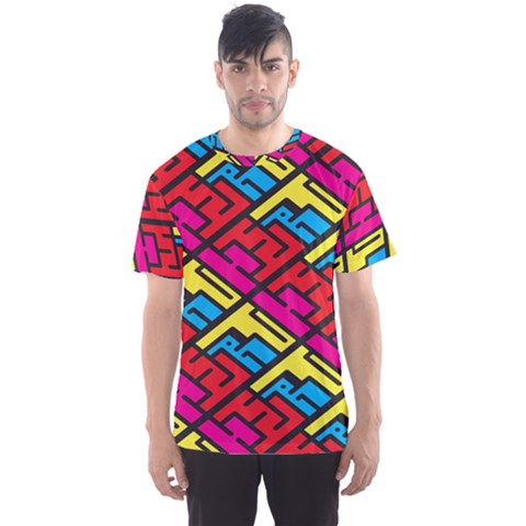 Color Red Yellow Blue Graffiti Men s Sport Mesh Tee by Mariart