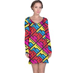 Color Red Yellow Blue Graffiti Long Sleeve Nightdress