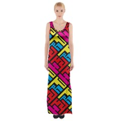 Color Red Yellow Blue Graffiti Maxi Thigh Split Dress by Mariart