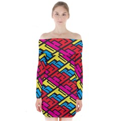 Color Red Yellow Blue Graffiti Long Sleeve Off Shoulder Dress by Mariart
