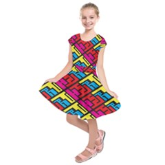 Color Red Yellow Blue Graffiti Kids  Short Sleeve Dress by Mariart