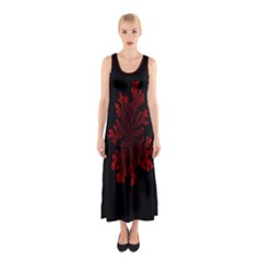 Dendron Diffusion Aggregation Flower Floral Leaf Red Black Sleeveless Maxi Dress by Mariart