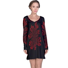 Dendron Diffusion Aggregation Flower Floral Leaf Red Black Long Sleeve Nightdress by Mariart