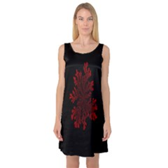 Dendron Diffusion Aggregation Flower Floral Leaf Red Black Sleeveless Satin Nightdress by Mariart
