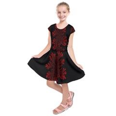 Dendron Diffusion Aggregation Flower Floral Leaf Red Black Kids  Short Sleeve Dress by Mariart