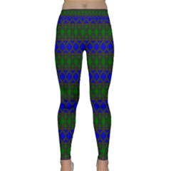 Diamond Alt Blue Green Woven Fabric Classic Yoga Leggings by Mariart