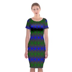 Diamond Alt Blue Green Woven Fabric Classic Short Sleeve Midi Dress by Mariart