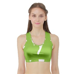 Dog Green White Animals Sports Bra With Border by Mariart