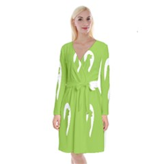 Dog Green White Animals Long Sleeve Velvet Front Wrap Dress by Mariart