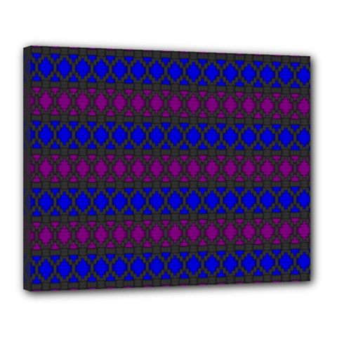 Diamond Alt Blue Purple Woven Fabric Canvas 20  X 16  by Mariart