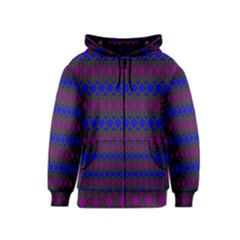 Diamond Alt Blue Purple Woven Fabric Kids  Zipper Hoodie by Mariart