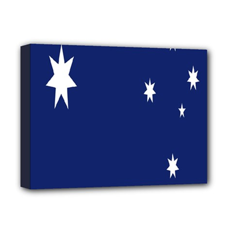 Flag Star Blue Green Yellow Deluxe Canvas 16  X 12   by Mariart