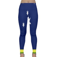 Flag Star Blue Green Yellow Classic Yoga Leggings by Mariart