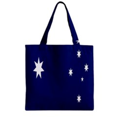 Flag Star Blue Green Yellow Zipper Grocery Tote Bag