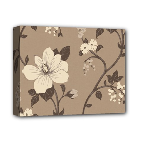 Floral Flower Rose Leaf Grey Deluxe Canvas 14  X 11  by Mariart