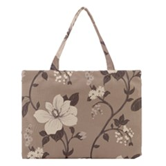 Floral Flower Rose Leaf Grey Medium Tote Bag by Mariart