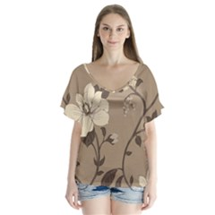 Floral Flower Rose Leaf Grey Flutter Sleeve Top