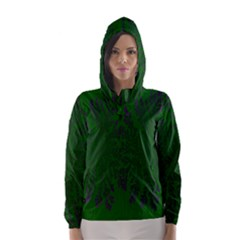 Dendron Diffusion Aggregation Flower Floral Leaf Green Purple Hooded Wind Breaker (women) by Mariart