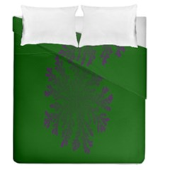 Dendron Diffusion Aggregation Flower Floral Leaf Green Purple Duvet Cover Double Side (queen Size) by Mariart