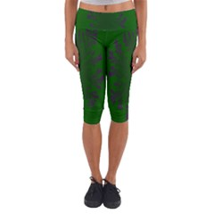 Dendron Diffusion Aggregation Flower Floral Leaf Green Purple Capri Yoga Leggings by Mariart